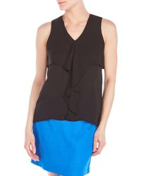 Violet & Claire - Sleeveless V-Neck Ruffle Top - Lyst