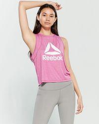 Reebok - Throwback Logo Cropped Tank Top - Lyst