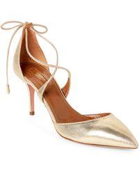 Aquazzura - Light Gold Matilde Ankle-tie Pumps - Lyst