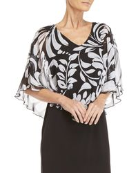 Connected Apparel - Petite Printed Chiffon Overlay Dress - Lyst