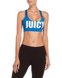 Juicy Couture - Logo Cross Back Sports Bra - Lyst