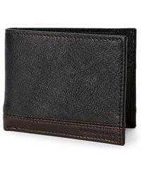 Perry Ellis Portfolio - Black & Brown Leather Passcase - Lyst