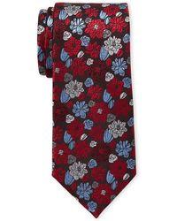 Isaac Mizrahi New York - Black & Red Large Flower Silk Tie - Lyst