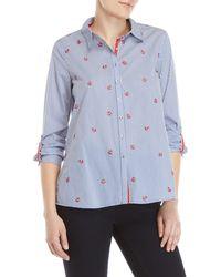 Rafaella - Petite Striped Anchor Embroidered Shirt - Lyst