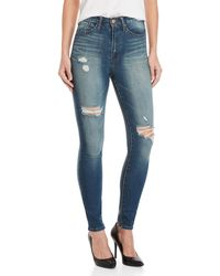 William Rast - Dark Wash High-waisted Skinny Jeans - Lyst