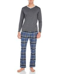 Kenneth Cole - Two-Piece Long Sleeve Tee & Flannel Pants Set - Lyst