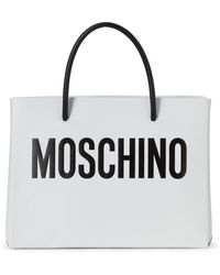 Moschino   White & Black Convertible Leather Tote   Lyst