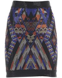 Balmain - Aztec Pattern Beaded Skirt - Lyst
