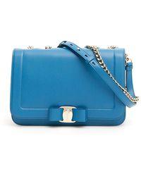 Lyst - Ferragamo Medium Vara Flap Bag in Blue 94f2ac43de2db