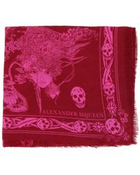 Alexander McQueen - Eve And Skull Fringed Scarf - Lyst