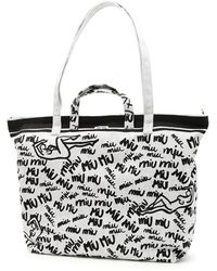Miu Miu - Scribbled Logo Tote Bag - Lyst