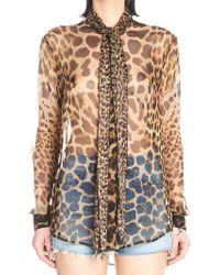 31c6c0a4 Saint Laurent Leopard Print Blouse in Gray - Lyst