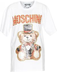 c0b6ab4e Moschino Oversized Teddy In Space T-shirt White/print in White - Lyst