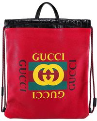4e657e39c528 Lyst - Gucci Embroidered Badge Drawstring Backpack in Brown for Men