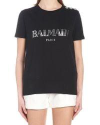 Balmain - Embellished Buttons T-shirt - Lyst