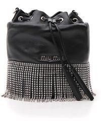 Miu Miu - Crystal Fringed Bucket Bag - Lyst 1d4ac80b9835e