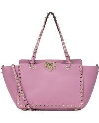 09d1bdf13 Valentino 'rockstud' Mini Patent Leather Tote in Pink - Lyst