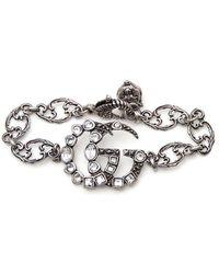 6806fed17 Gucci Double G Sterling Silver Charm Bracelet in Metallic - Lyst