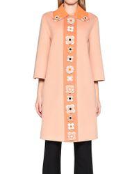 2ef20db1dcf0 Fendi Flower-detail Double-face Wool   Fox Fur Cape in Pink - Lyst
