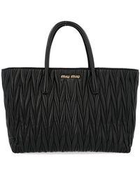 Miu Miu - Black Leather Tote - Lyst