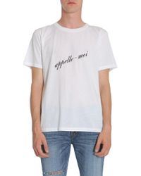 "Saint Laurent - ""appelle Moi"" Print Cotton Jersey T-shirt - Lyst"