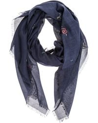 Gucci - Embroidered Fringed Edge Scarf - Lyst