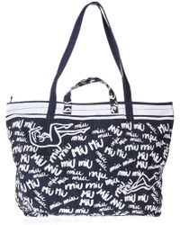 Miu Miu - Printed Denim Shopping Bag - Lyst