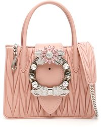 6cd80dca28c89 Miu Miu Lady Crystal Shoulder Bag in Pink - Lyst