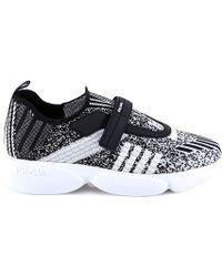 d082206f6f4 Prada - Velcro Closure Knit Sneakers - Lyst