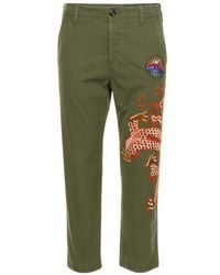 Gucci - Dragon Embroidered Trousers - Lyst
