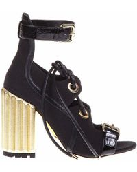 Dior - Lace-up Chunky Heel Sandals - Lyst