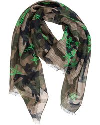 09f72b999277 Lyst - Valentino Camouflage-   Star-print Scarf in Blue for Men
