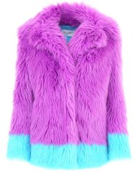 Alberta Ferretti - Contrasting Faux Fur Jacket - Lyst