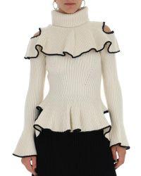 Alexander McQueen - Roll-neck Ruffle-trimmed Wool-blend Jumper - Lyst
