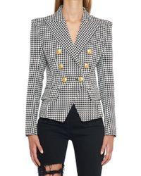 a62bf49b Balmain Shawl-lapel Double-breasted Velvet Jacket in Black - Lyst