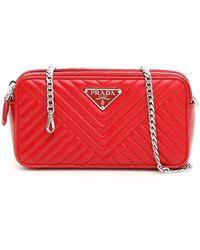 69ff321155c6 Prada - Quilted Chain Strap Shoulder Bag - Lyst