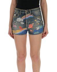 Saint Laurent Embroidered Shorts - Blue