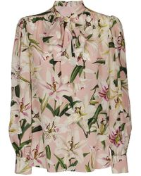 ddef78519b8b Dolce & Gabbana Ruffle Trim Sheer Blouse With Pussybow in Pink - Lyst