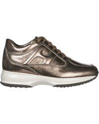 Hogan - Shinny Lace Up Sneakers - Lyst
