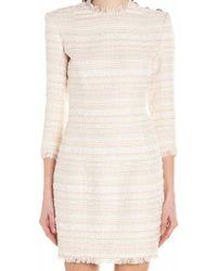 884192f5 Lyst - Balmain Fringed Tweed Mini Dress in Blue