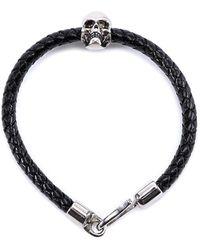 Alexander McQueen - Skull Detail Leather Bracelet - Lyst