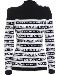 Balmain - White/black Viscose Jumper - Lyst