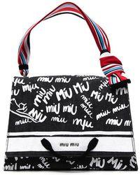 Miu Miu - Logo Print Tote Bag - Lyst