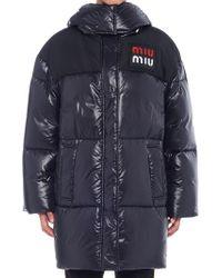 Miu Miu - Logo Ovesized Padded Coat - Lyst