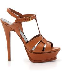 304d22639b7f Saint Laurent Tribute Suede Sandals in Brown - Lyst