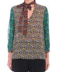 540adf4c0b5 Alice + Olivia Amos Floral Print Silk Tunic in Green - Lyst