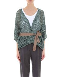 Brunello Cucinelli Embroidered Sequin Open Knit Cardigan