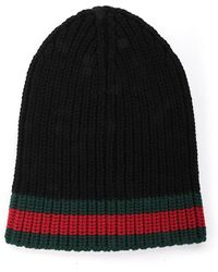 a1c8f292 Gucci Web Wool Cable Knit Beanie Hat in Blue for Men - Lyst