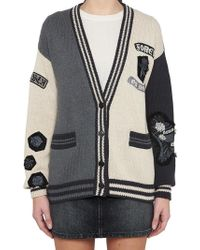 Saint Laurent - Embellished Cotton Cardigan - Lyst