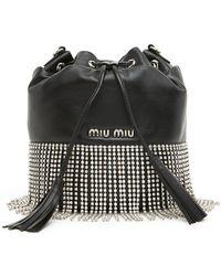 Miu Miu - Crystal Fringed Bucket Bag - Lyst